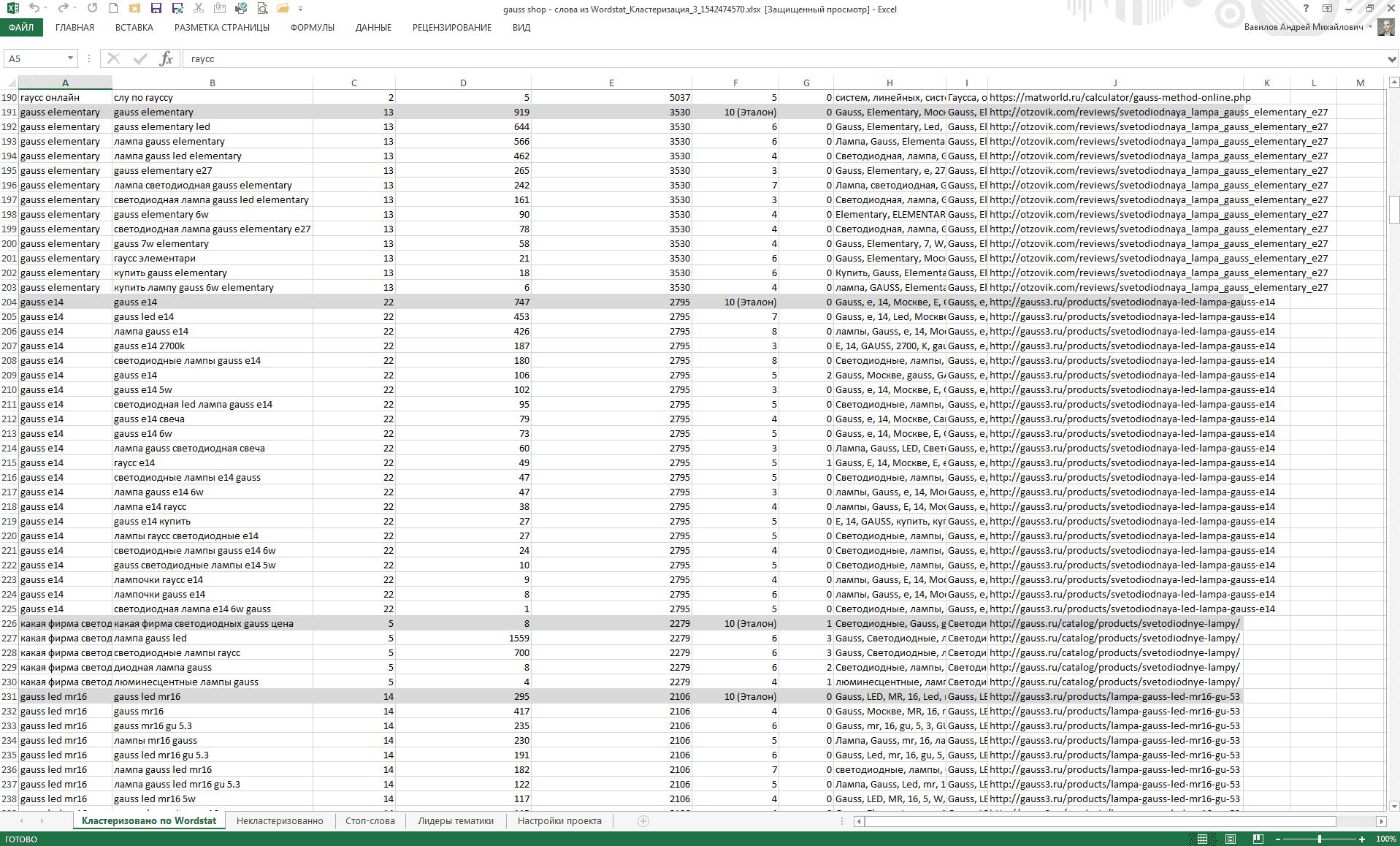 Готовый файл с класстерами из сервиса